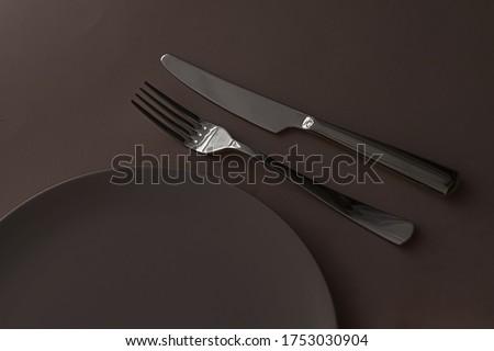 Lege plaat bestek ingesteld donkere Stockfoto © Anneleven