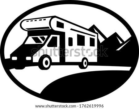 キャラバン ヴァン 道路 山 オーバル 黒白 ストックフォト © patrimonio