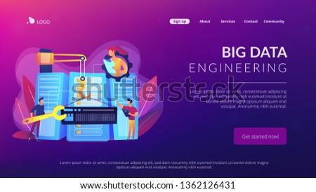 Grand données génie atterrissage page ingénieurs Photo stock © RAStudio