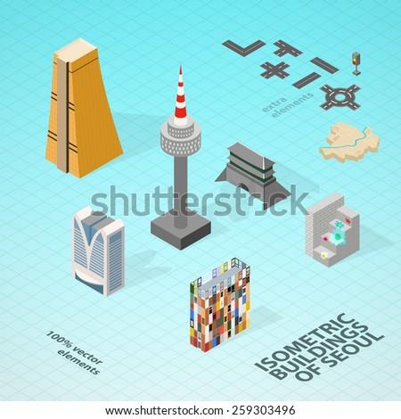 Korean Building isometric icon vector illustration Stock photo © pikepicture