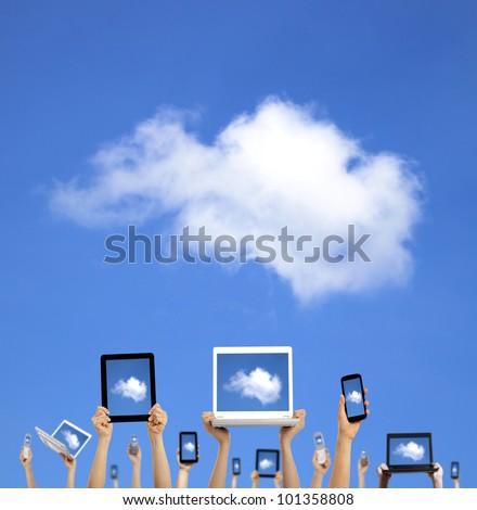 Teléfono celular social equipo nube conexión Foto stock © cienpies
