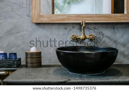 Dorado bano grifo aislado blanco agua Foto stock © shutswis
