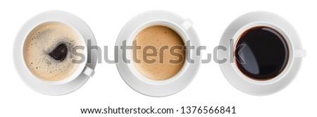 Sıcak siyah kahve fincan yalıtılmış beyaz üst Stok fotoğraf © borysshevchuk