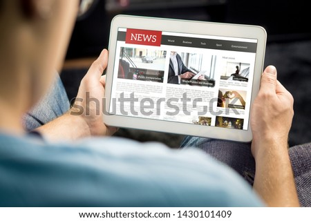 computer  with news article on screen Stock photo © netkov1