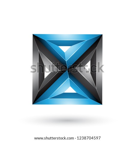 Blue 3d Geometrical Embossed Square and Triangle Shape Vector Il Stock photo © cidepix
