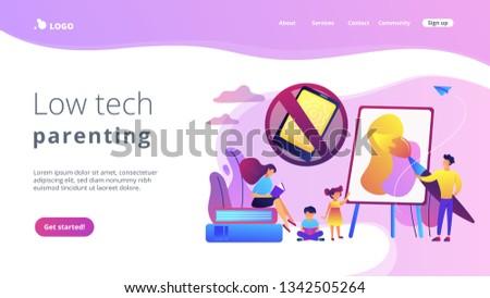 Bajo tecnología crianza de los hijos aterrizaje página minúsculo Foto stock © RAStudio