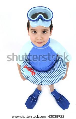 Chłopca rurka do nurkowania biały ilustracja szczęśliwy student Zdjęcia stock © bluering