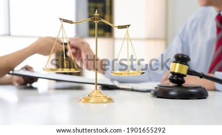 Professional Secretary lawyer working at his office signing cont Stock photo © snowing