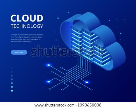 Chmura przechowywania izometryczny ikona wektora podpisania Zdjęcia stock © pikepicture