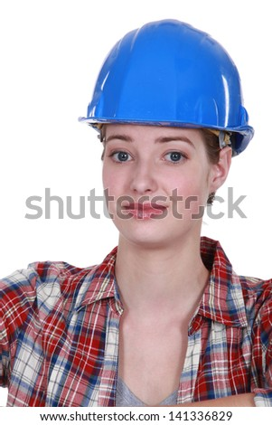 A nervous-looking tradeswoman Stock photo © photography33
