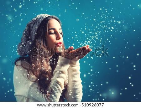 Woman blowing a kiss at Christmas Stock photo © photography33