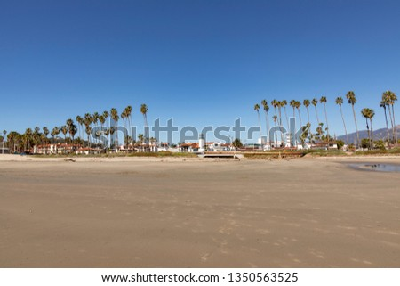 scenic promenade with lighthouse and palms in santa barbara stock photo © meinzahn