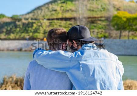 Jóvenes gay Pareja amor otro blanco Foto stock © Lopolo