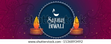 shubh diwali festival banner with colroful diya design Stock photo © SArts