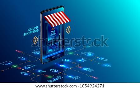 Online shopping concept vector isometric illustration. Stock photo © RAStudio