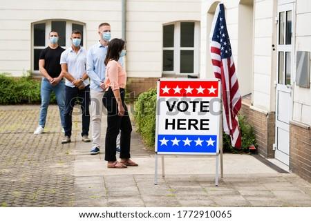 Szavazás hely felirat választás fülke kéz Stock fotó © AndreyPopov