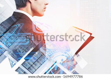 Rear view of a businessman, online security concept Stock photo © ra2studio