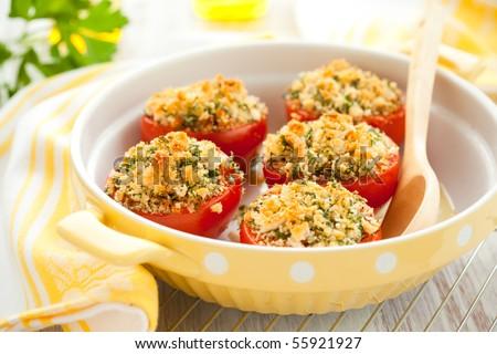 Stock photo: stuffed tomato with breadcrumbs