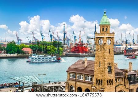 view to Landungsbruecken in Hamburg Stock photo © meinzahn