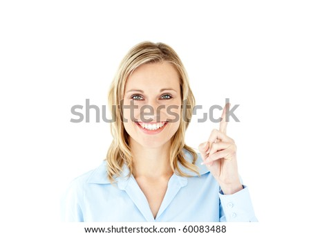 femme · d'affaires · pointant · isolé · blanche · affaires - photo stock © cherezoff