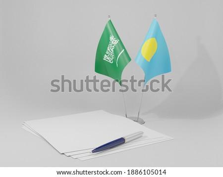 Arábia Saudita Palau bandeiras quebra-cabeça isolado branco Foto stock © Istanbul2009