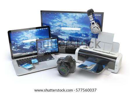 vektör · elektronik · ayarlamak · yalıtılmış · beyaz - stok fotoğraf © netkov1