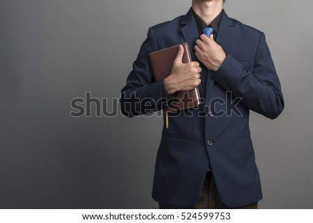 businessman student reading a book isolated on white background stock photo © elnur