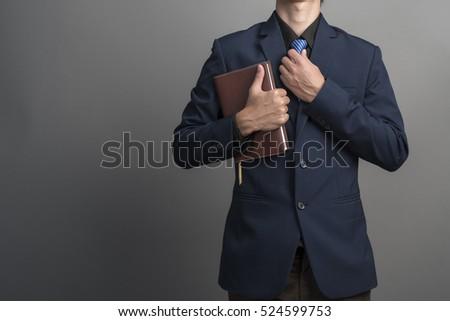 Stockfoto: Zakenman · student · lezing · boek · geïsoleerd · witte