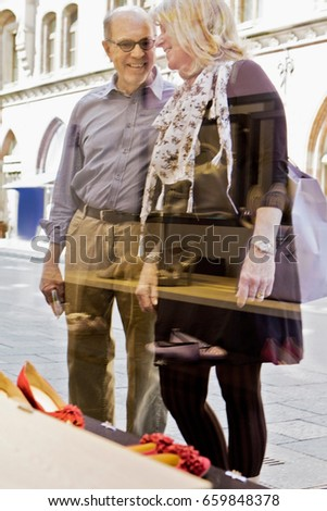 Older woman beside ornate stone building Stock photo © IS2