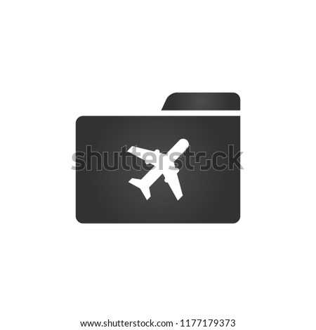 Folder Icon with plane icon in trendy flat style isolated on white background, for your web site des stock photo © kyryloff