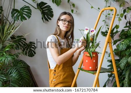 Portret permanente jonge vrouw bloemen bloem vrouwen Stockfoto © phbcz