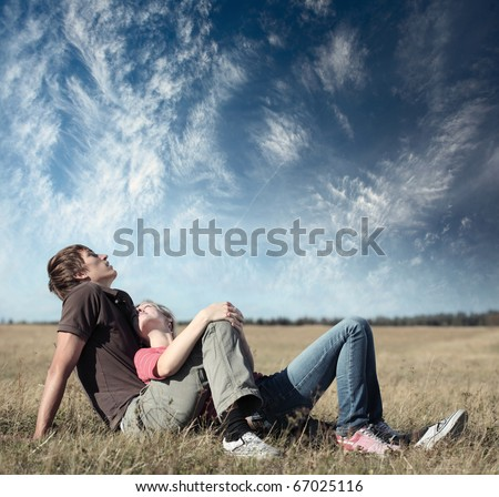 couple of lovers lying in grass Stock photo © photography33