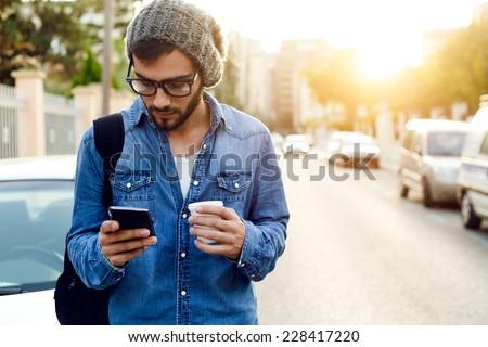 Elegant young man on phone Stock photo © photography33