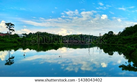 Chmury refleksji jezioro niebo lata panoramę Zdjęcia stock © ryhor