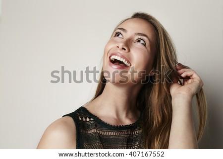 feliz · bela · mulher · mulher · menina - foto stock © alexandrenunes