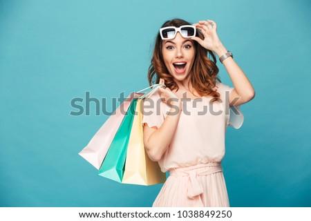 ショッピング 女性 美しい 孤立した 白 幸せ ストックフォト © Kurhan