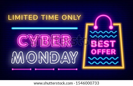 Cyber Monday Limited Time Only Neon Sign Vector Stock photo © robuart