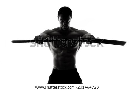 Fuerte hombre samurai espada retrato guapo Foto stock © Jasminko