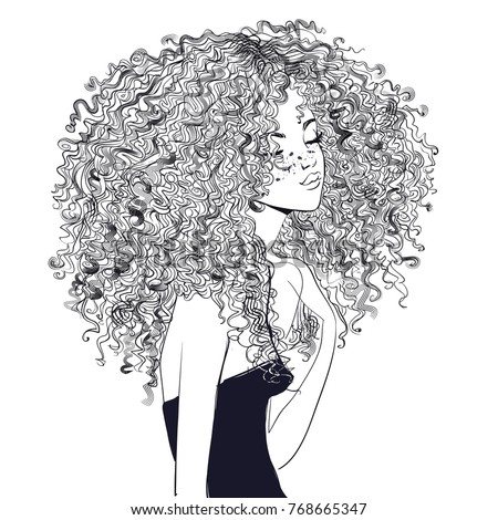 pretty curly girl with a drawing Stock photo © OleksandrO