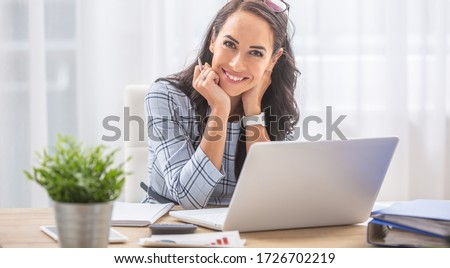 Young woman in front of a computer Stock photo © photography33