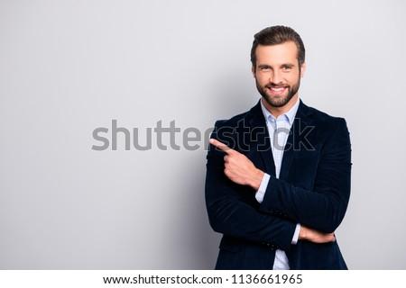 Stock fotó: üzletember · mutat · ujj · fehér · portré · férfi