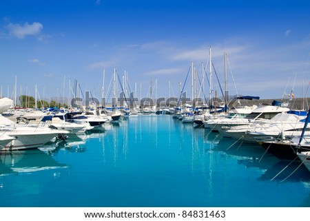 Boats moored in Alcudia harbor Stock photo © speedfighter