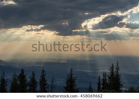 Cloudscape over the city at sunset Stock photo © amok