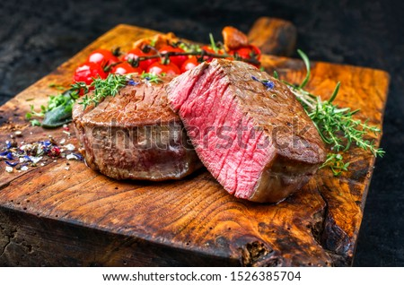 beef filet with spices and tomato Stock photo © OleksandrO