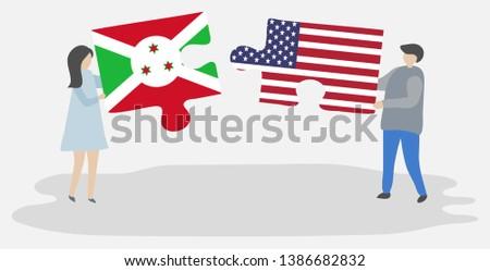 EUA Burundi bandeiras quebra-cabeça vetor imagem Foto stock © Istanbul2009