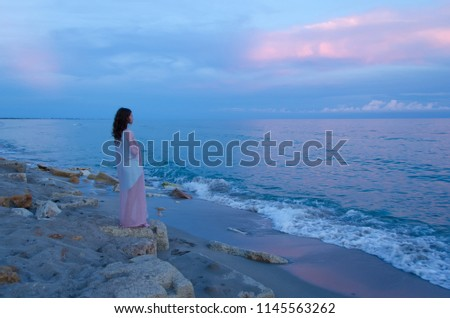 young woman stands on seacoast on sunset,  rear view Stock photo © Paha_L