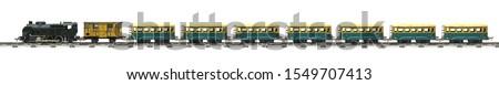 Bağbozumu tren oyuncak yalıtılmış beyaz seyahat Stok fotoğraf © OleksandrO