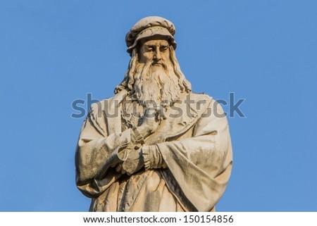 Monument of Leonardo da Vinci in Milan Stock photo © boggy