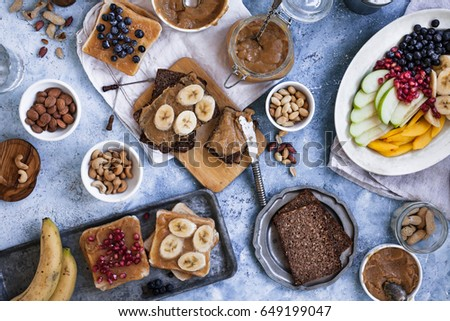 Blueberry smoothie and peanut butter toast stock photo © zoryanchik