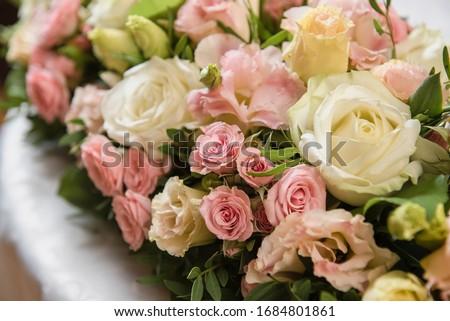Dinner setting with rose flowers bouquet Stock photo © karandaev